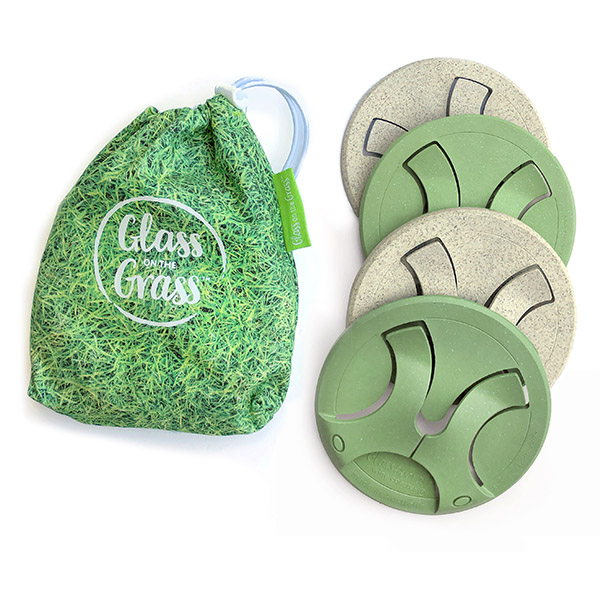 Glass on the Grass Coasters - Grass print