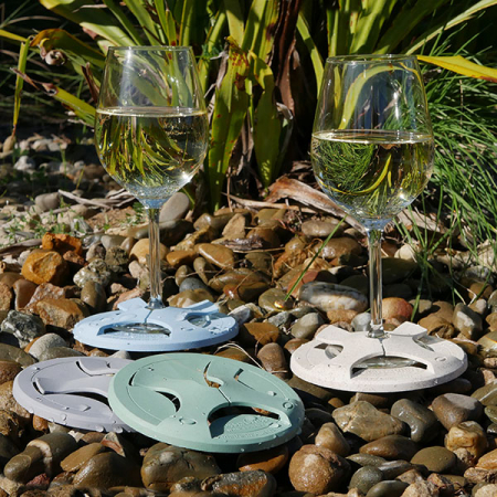 Glass on the Grass Riverstone Bamboo Coaster Set